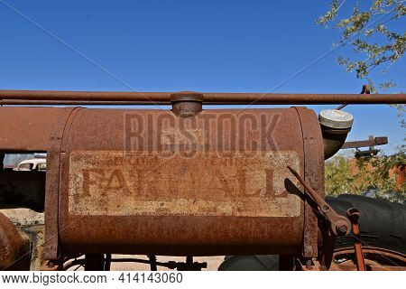 Maricopa, Arizona, February 26, 2021: The Old F-12 Tractor  Logo Is A Farmall, A Model Name And Late