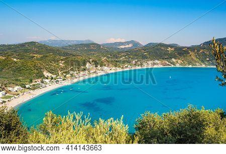 Porto Timoni Beach On Corfu Island In Greece. Beautiful Panoramic View Of Green Mountains, Clear Sea