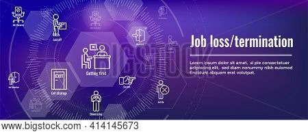 Job Loss, Downsizing, Getting Fired, Unemployment From Covid 19 Or Coronavirus Icon Set And Web Head
