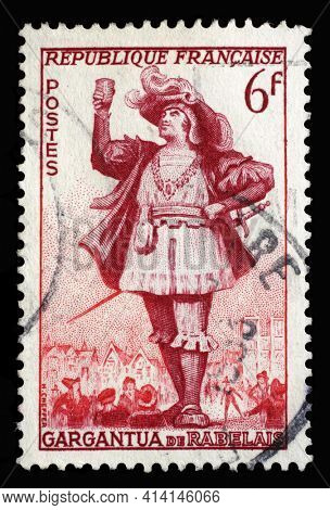 ZAGREB, CROATIA - SEPTEMBER 09, 2014: Stamp printed in the France shows image of Gargantua, the literary character created by Francois Rabelais, Actors series, circa 1953
