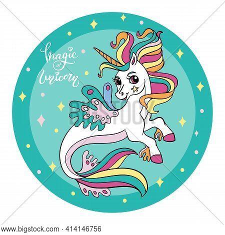 Cute Cartoon Sea Unicorn With Rainbow Mane. Vector Illustration Circle Shape On Green Background. Fo