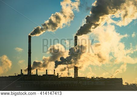 Smoke Stack With Smoke Emission. Plant Pipes Pollute Atmosphere. Industrial Factory Pollution, Smoke
