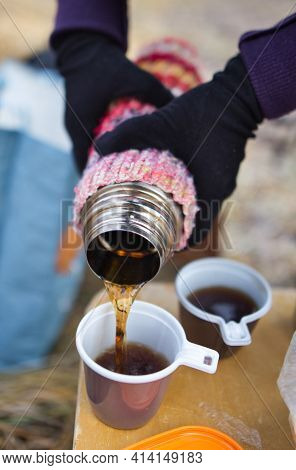 Coffee From The Thermos Outdoors In Cold Weather. 2021