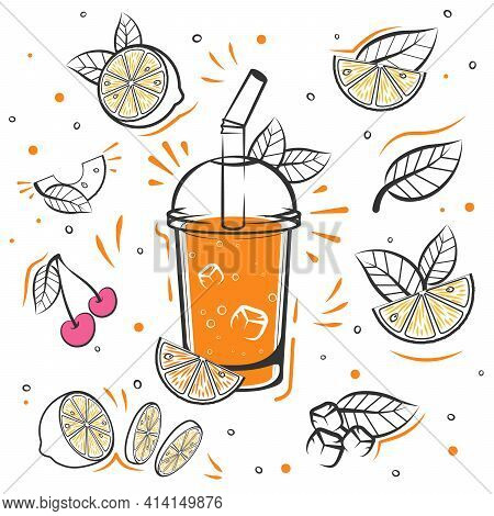 Orange Smoothie Recipe. With Illustration Of Ingredients. Sketch Smoothie.