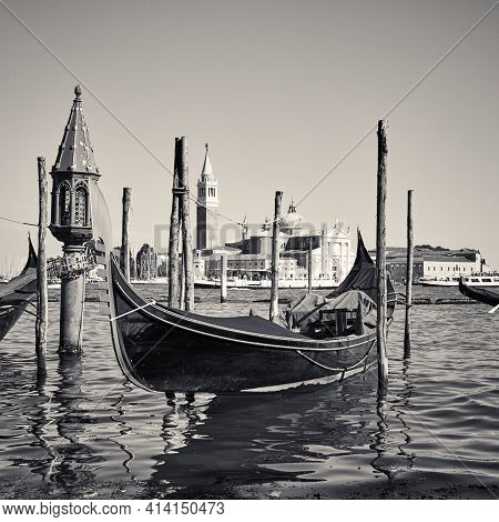 Gondola in Venice, Italy. Black and white photography. Venetian view