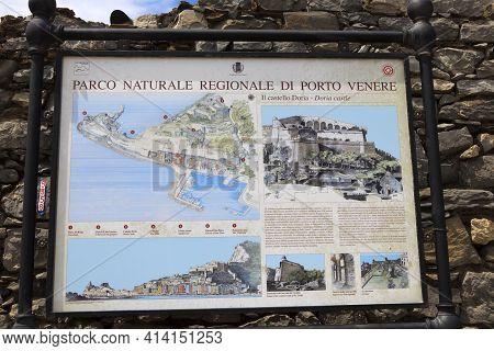 Portovenere ( Sp ), Italy - April 15, 2017: Doria Castle Sign, Portovenere, Gulf Of Poets, Cinque Te