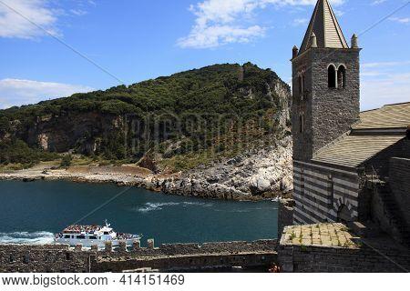 Portovenere (sp), Italy - April 15, 2017: San Pietro Church, Portovenere, Gulf Of Poets, Cinque Terr