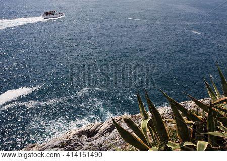 Portovenere (sp), Italy - April 15, 2017: Cliff Around San Pietro Church, Portovenere Gulf Of Poets,