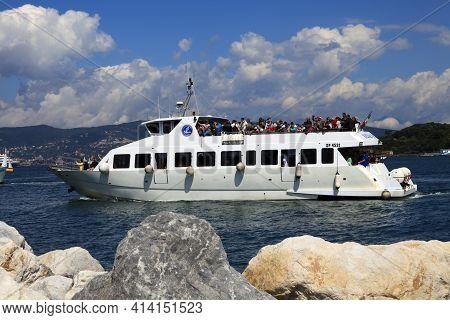 Portovenere (sp), Italy - April 15, 2017: A Boat In Portovenere Harbour, Gulf Of Poets, Cinque Terre