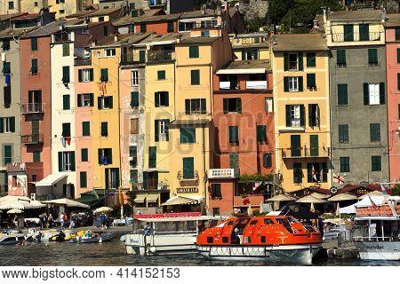 Portovenere ( Sp ), Italy - April 15, 2017: Wiew Of Portovenere Village, Gulf Of Poets, Cinque Terre