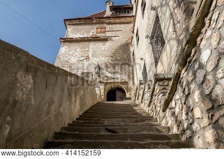 Brasov, Transylvania, Romania, October 2015: Main Entrance Staircase Of The Medieval Castle Of Bran,