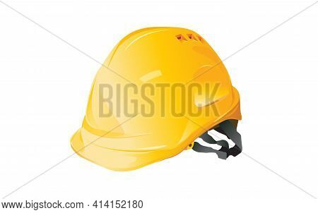 Yellow Hard Hat Isolated On White Background, Construction Concept, Vector Design.