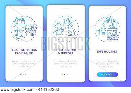 Domestic Violence Survivors Support Onboarding Mobile App Page Screen With Concepts. Child Support W