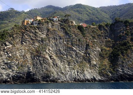Cinque Terre ( Sp ), Italy - April 15, 2017: Houses On The Cliffs View From A Boat, Gulf Of Poets, C