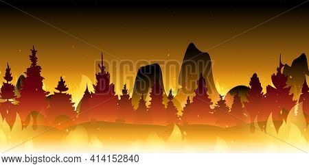 Wildfire Background. Burning Forest. Fire In Forest. Vector Cartoon Illustration Of Burnt Landscape,