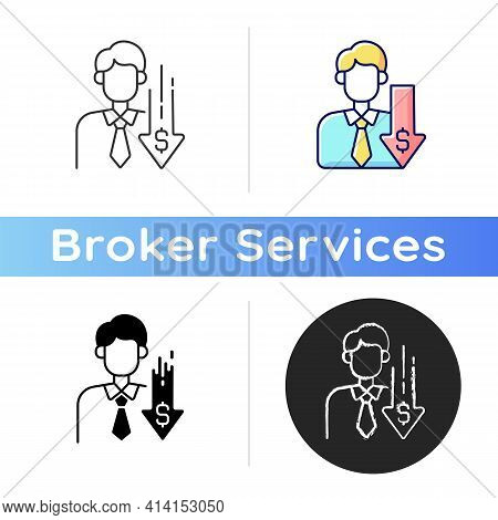 Discount Broker Icon. Falling Prices. Cost Reduction. Financial Recession. Economic Failure. Busines