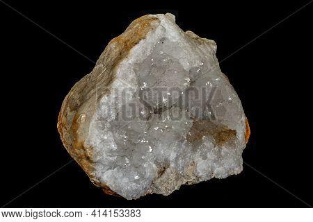 Macro Stone Mineral Quartz Geodes On Black Background