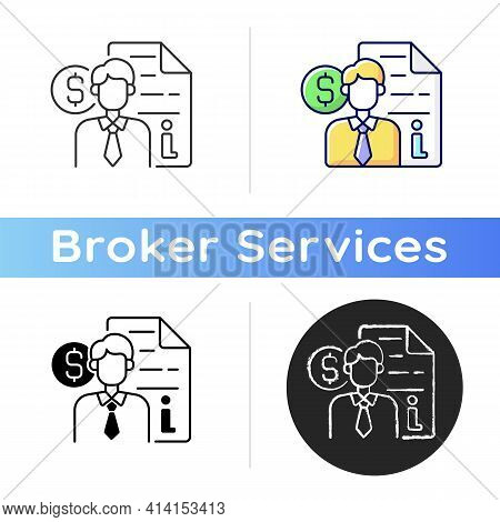 Broker Consultation Icon. Intermediary And Brokerage Services. Cost Of Purchasing Information. Commi