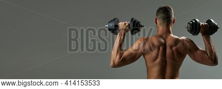 Website Header Of Adorable Strong Bodybuilder Doing Building Up Muscles With Dumbbells In Room Indoo