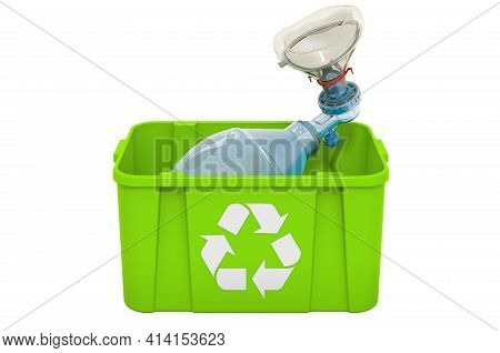 Recycling Trashcan With Bag Valve Mask, 3d Rendering Isolated On White Background