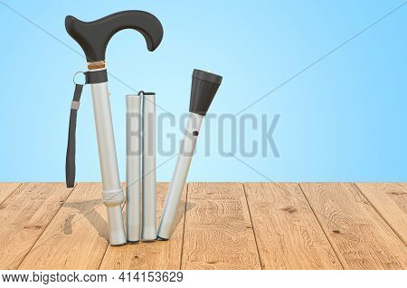 Folding Cane, Walking Stick On The Wooden Planks, 3d Rendering