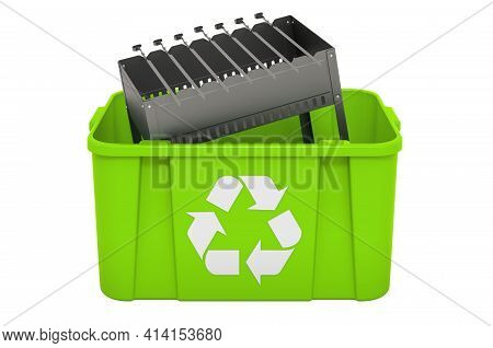 Recycling Trashcan With Mangal, 3d Rendering Isolated On White Background