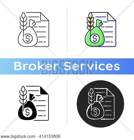 Commodity Broker Icon. Business Contract. Trading Deal For Agricultural Industry. Official Paperwork