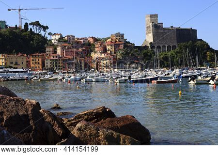 Lerici ( Sp ), Italy - April 15, 2017: Lerici Harbour And The Castle, Gulf Of Poets, Cinque Terre, L