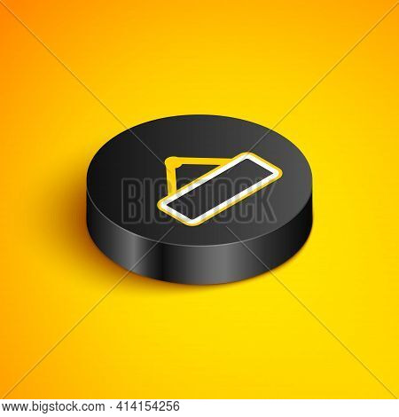 Isometric Line Signboard Hanging Icon Isolated On Yellow Background. Suitable For Advertisements Bar