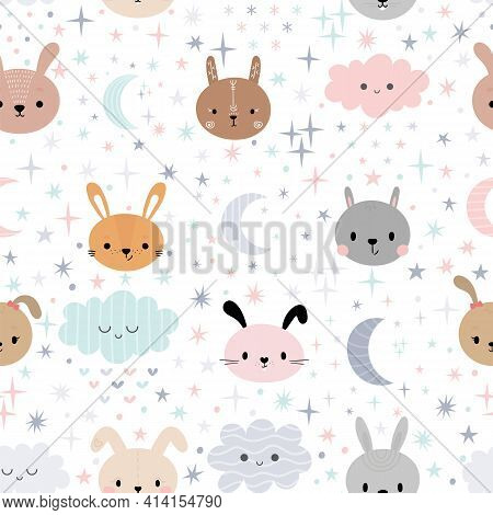 Cute Seamless Pattern For Kids With Cartoon Little Bunnies. Children Background With Moon, Stars And