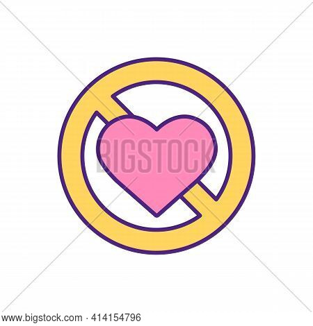 Prohibited Love Stop Sign Rgb Color Icon. No Romantic Relationship Symbol. Online Dating Ban. Findin