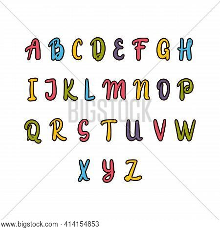 Hand Drawn Alphabet. Colorful Font. Cute Elements For Your Design. Use It For Create Greeting Cards,