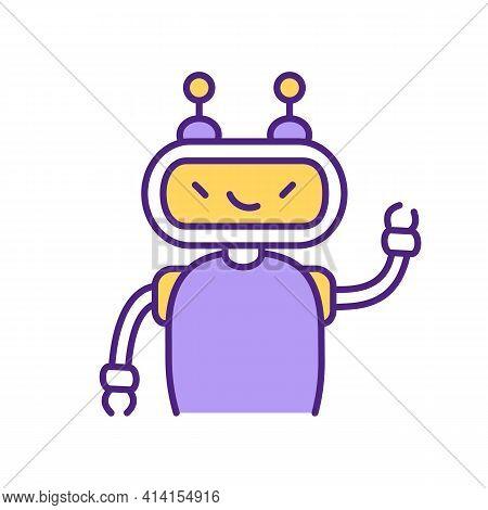 Smiling Virtual Assistant Rgb Color Icon. Cunning Violet Robot Waving Hand. Digital Chatbot Advisor.