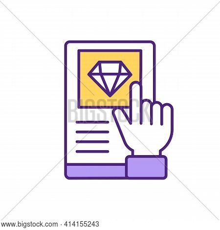 Online Marriage Diamond Ring Proposal Rgb Color Icon. Planning A Wedding With Person From Dating App