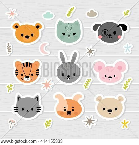 Set Of Cartoon Stickers With Animals For Kids. Sweet Smiley Faces. Cute Hand Drawn Characters With D