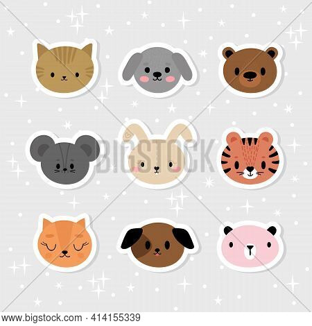 Set Of Cartoon Stickers With Animals For Kids. Sweet Smiley Faces. Cute Hand Drawn Characters