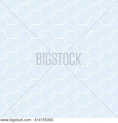 Light Blue Hexagon Stroke Texture. Hexagon Abstract Background. Vector Illustration