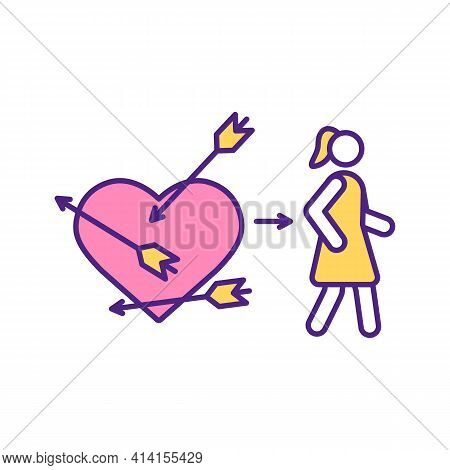Cupid Arrow Hit Woman Heart Rgb Color Icon. Angels Help To Find Husband. Fall In Love With Man. Sear