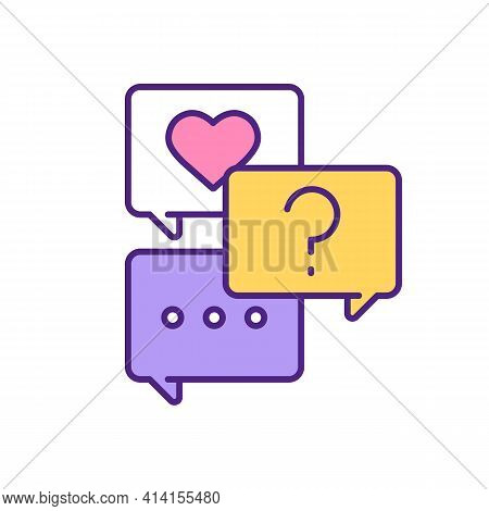 Online Chatting, Finding Love Rgb Color Icon. Answering Questionnaire To Know Each Other Better. Fil