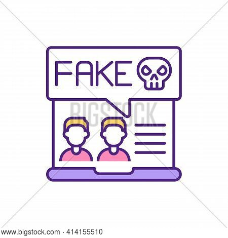 Fake Dater Profile On Website Rgb Color Icon. Hide Personality In Dating App. Pretend To Be Another