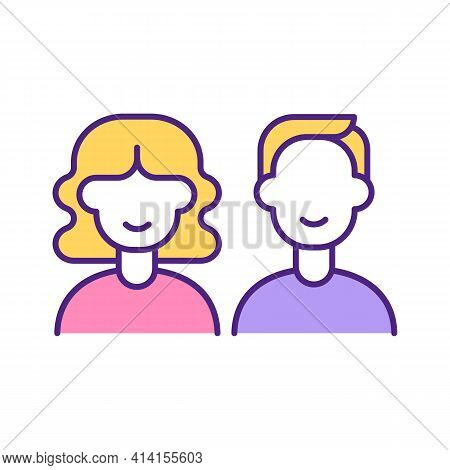 Woman And Man Perfect Match Rgb Color Icon. Couple In Love, First Date, Sympathy Between Young Peopl