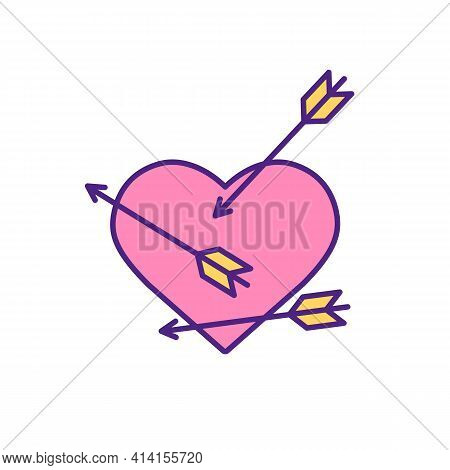 Cupid Arrow Hit Person Heart Rgb Color Icon. Angels Help To Find Husband Of Wife. Fall In Love With