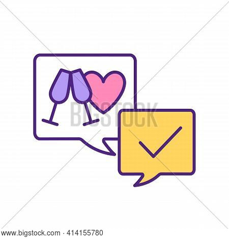 Arranging First Date On Dating App Rgb Color Icon. Invite To A Romantic Dinner. Sparkling Wine Spiri