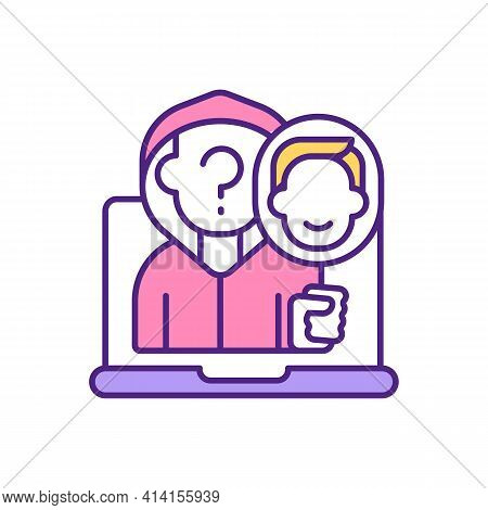 Fake User On Dating App Rgb Color Icon. Anonymous Person. Pretending Someone Else. Hiding Personalit