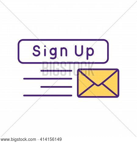 Sign Up To Send Messages Rgb Color Icon. Sending Letters In Envelope. Subscription To Website Newsle