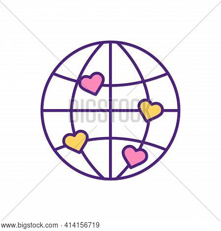 International Love Matching Rgb Color Icon. Find Love On Other Side Of Planet. Worldwide Dating Webs