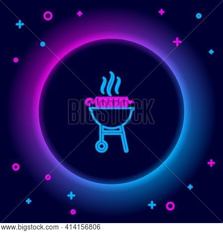 Glowing Neon Line Barbecue Grilled Shish Kebab On Skewer Stick Icon Isolated On Black Background. Bb