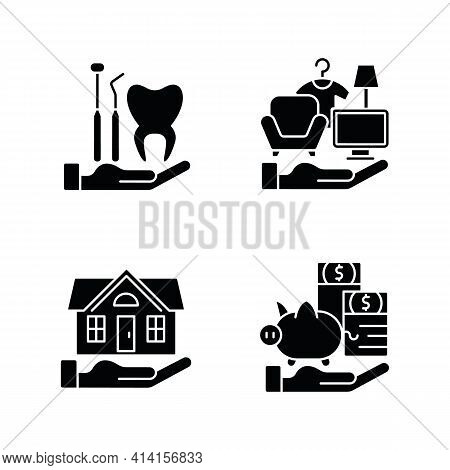 Insurance And Protection Black Glyph Icons Set On White Space. Dental Care. Property Coverage. Payme