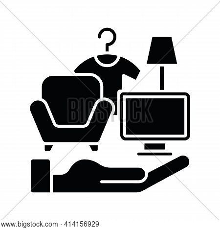 Possessions Insurance Black Glyph Icon. Contents Insurance Policy. Valuable Personal Belonging Prote