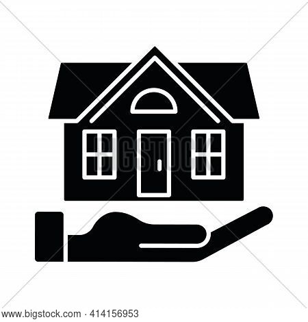 Home Insurance Black Glyph Icon. Insured Event. Covering Accident Expenses For Repairing, Rebuilding